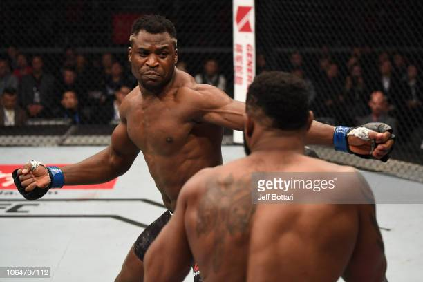 Francis Ngannou of Cameroon battles Curtis Blaydes in their heavyweight bout during the UFC Fight Night event inside Cadillac Arena on November 24...