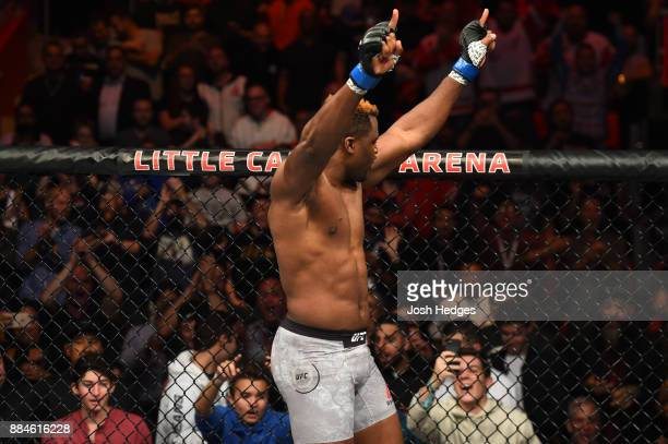 Francis Ngannou of Cameroon celebrates after defeating Alistair Overeem of The Netherlands in their heavyweight bout during the UFC 218 event inside...