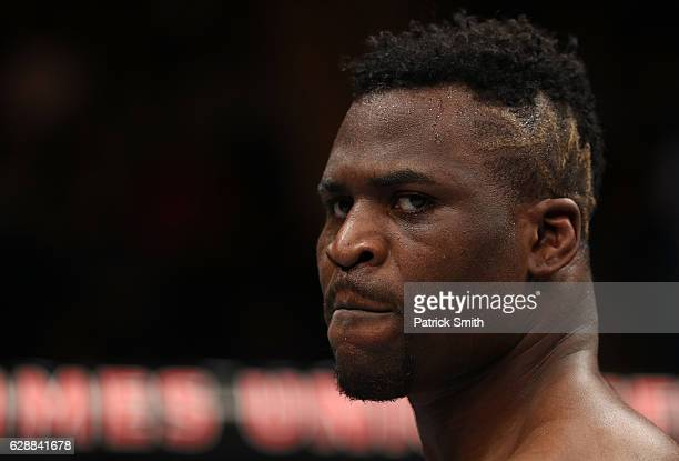 Francis Ngannou of Cameroon celebrates after his submission victory over Anthony Hamilton in their heavyweight bout during the UFC Fight Night event...