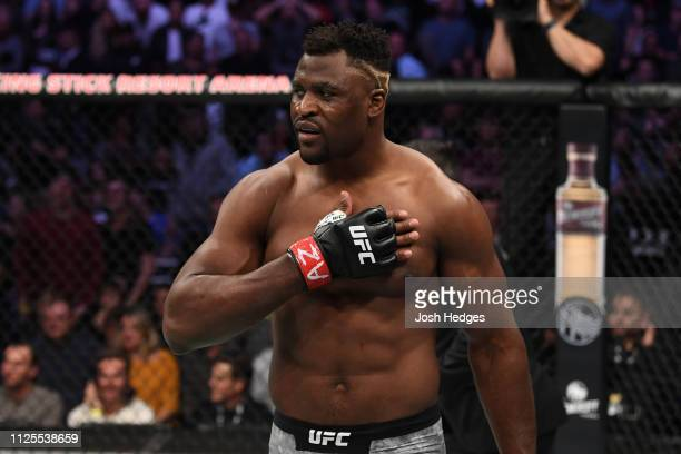 Francis Ngannou of Cameroon celebrates his KO victory over Cain Velasquez in their heavyweight bout during the UFC Fight Night event at Talking Stick...