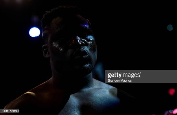 Francis Ngannou of Cameroon enters the Octagon before facing Stipe Miocic in their heavyweight championship bout during the UFC 220 event at TD...