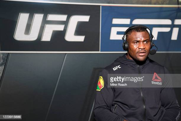 Francis Ngannou of Cameroon is interviewed by Megan Olivi after his victory over Jairzinho Rozenstruik during the UFC 249 event at VyStar Veterans...