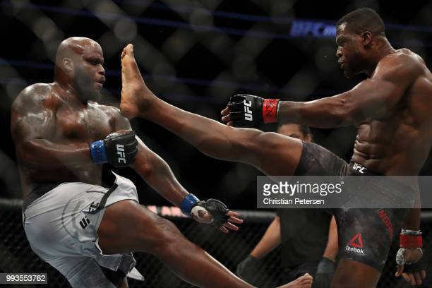 Francis Ngannou of Cameroon kicks Derrick Lewis in their heavyweight fight during the UFC 226 event inside TMobile Arena on July 7 2018 in Las Vegas...