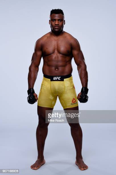 Francis Ngannou of Cameroon poses for a portrait during a UFC photo session on January 17 2018 in Boston Massachusetts
