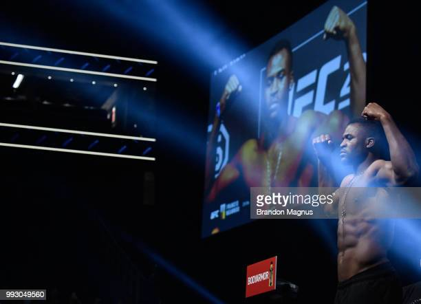 Francis Ngannou of Cameroon poses on the scale during the UFC 226 weighin inside TMobile Arena on July 6 2018 in Las Vegas Nevada