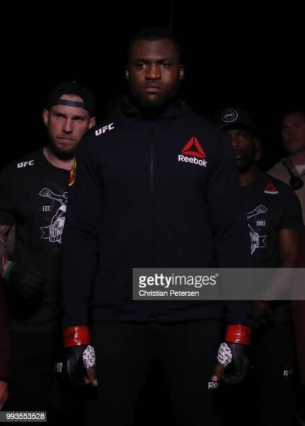 Francis Ngannou of Cameroon prepares to enter the Octagon against Derrick Lewis in their heavyweight fight during the UFC 226 event inside TMobile...