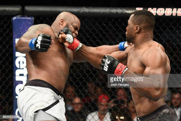 Francis Ngannou of Cameroon punches Derrick Lewis in their heavyweight fight during the UFC 226 event inside TMobile Arena on July 7 2018 in Las...