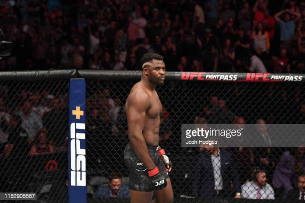 Francis Ngannou of Cameroon reacts after defeating Junior Dos Santos of Brazil in their heavyweight bout during the UFC Fight Night event at the...