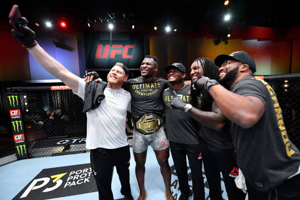 Francis Ngannou of Cameroon reacts after his victory over Stipe Miocic in their UFC heavyweight championship fight during the UFC 260 event at UFC...