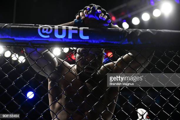 Francis Ngannou of Cameroon rests on the cage after facing Stipe Miocic in their heavyweight championship bout during the UFC 220 event at TD Garden...