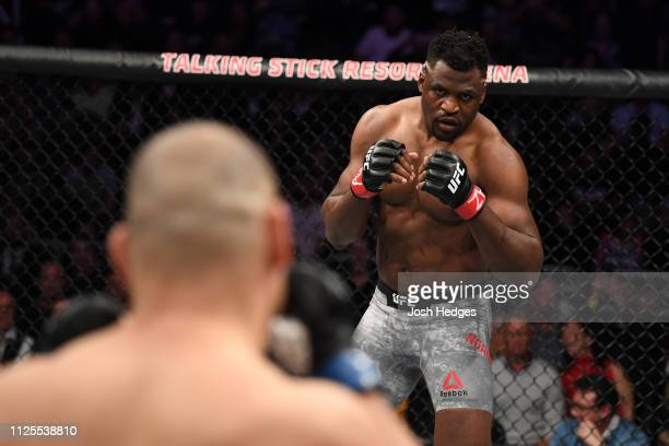 Francis Ngannou of Cameroon stands in his corner prior to his heavyweight bout against Cain Velasquez during the UFC Fight Night event at Talking...