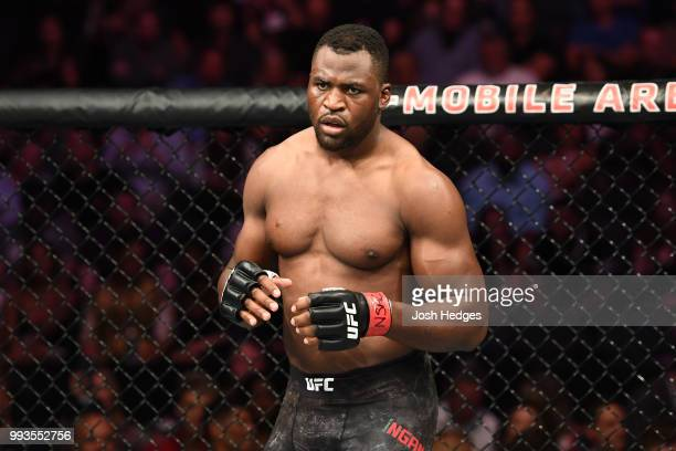 Francis Ngannou of Cameroon stands in the Octagon before facing Derrick Lewis in their heavyweight fight during the UFC 226 event inside TMobile...