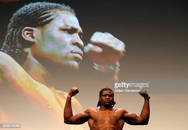 Francis Ngannou weighs in during the UFC Fight Night weighin at the Arena Zagreb on April 9 2016 in Zagreb Croatia