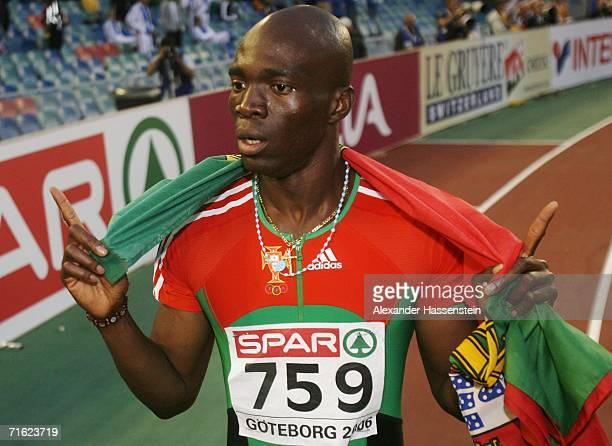 Francis Obikwelu of Portugal celebrates winning gold during the Men's 200 Metres Final on day four of the 19th European Athletics Championships at...