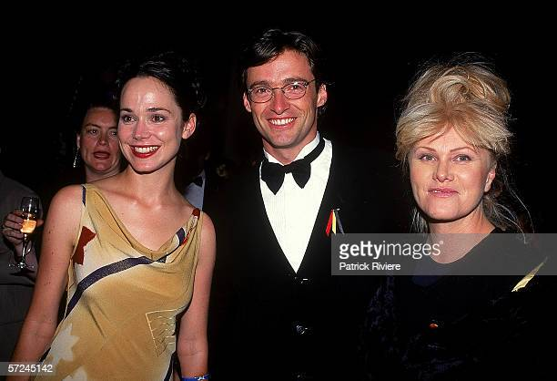 Francis O'Connor Hugh Jackman and DeborraLee Furness attend the Australian Film Industry Awards November 11 1997 in Melbourne Australia