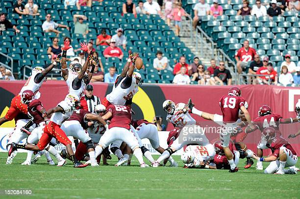 J Francis of the Maryland Terrapins blocks a field goal against the Temple Owls at Lincoln Financial Field on September 8 2012 in Philadelphia...