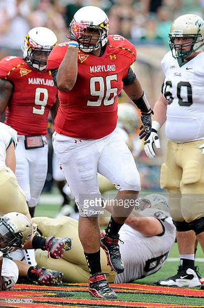 J Francis of the Maryland Terrapins celebrates after a defensive play against the William Mary Tribe at Byrd Stadium on September 1 2012 in College...