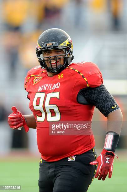 J Francis of the Maryland Terrapins celebrates after recovering a fumble against the Boston College Eagles at Alumni Stadium on October 27 2012 in...