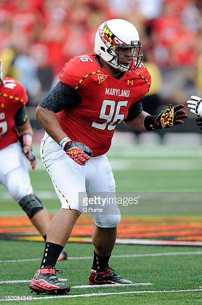 J Francis of the Maryland Terrapins defends against the William Mary Tribe at Byrd Stadium on September 1 2012 in College Park Maryland