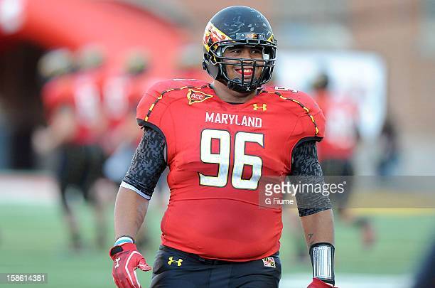 J Francis of the Maryland Terrapins rests during a break in the game against the Wake Forest Demon Deacons at Byrd Stadium on October 6 2012 in...