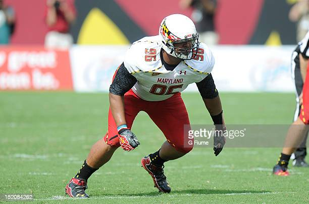 J Francis of the Maryland Terrapins rushes off the line of scrimmage against the Temple Owls at Lincoln Financial Field on September 8 2012 in...