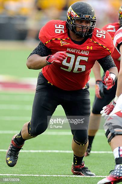 J Francis of the Maryland Terrapins rushes off the line of scrimmage against the Boston College Eagles at Alumni Stadium on October 27 2012 in...