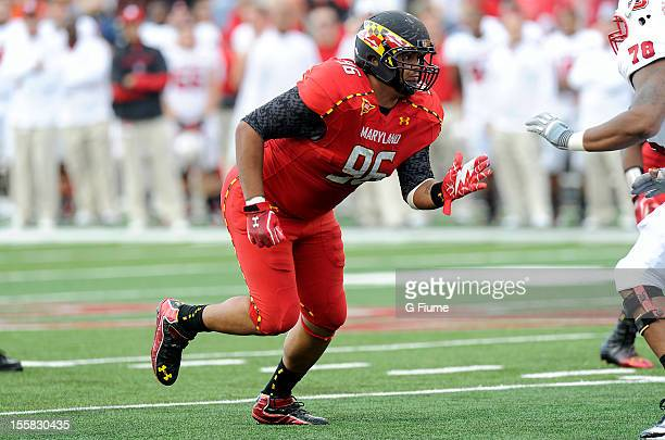 J Francis of the Maryland Terrapins rushes off the line of scrimmage against the North Carolina State Wolfpack at Byrd Stadium on October 20 2012 in...