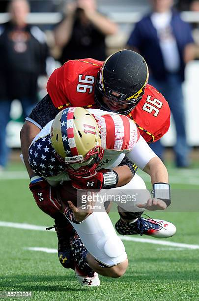 J Francis of the Maryland Terrapins sacks Chase Rettig of the Boston College Eagles at Alumni Stadium on October 27 2012 in Chestnut Hill...
