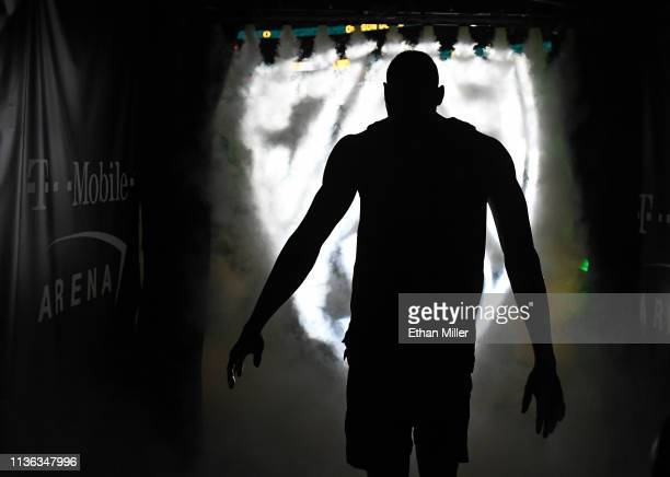 Francis Okoro of the Oregon Ducks is introduced before the championship game of the Pac12 basketball tournament against the Washington Huskies at...