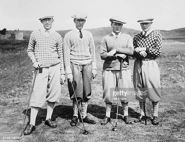 Francis Ouimet, George Duncan Bobby Jones, and George Von Elm at British Amateur golf championship, matches in England.