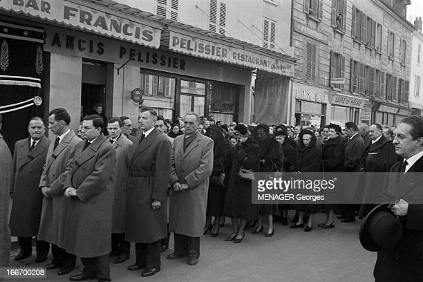 Francis Pelissier Mantes La Jolie 23 février 1959 L'enterrement du coureur cycliste français Francis PELISSIER lors de la cérémonie d'adieu des...