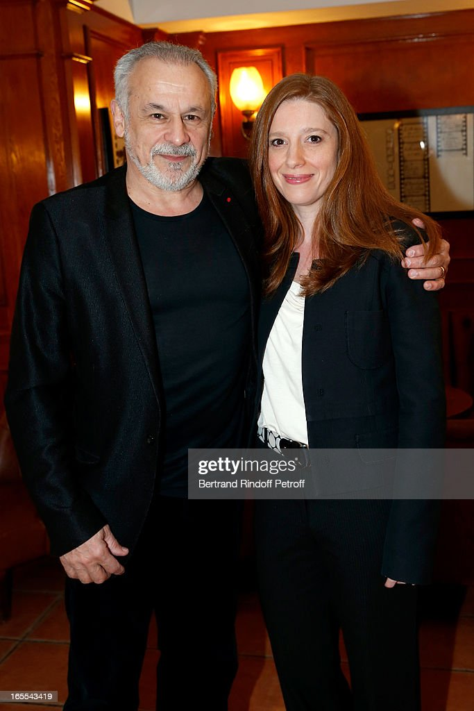 Francis Perrin and wife Gersende attend 'Mongeville TV Show : La Nuit Des Loups' Private Screening at Club 13 on April 4, 2013 in Paris, France.