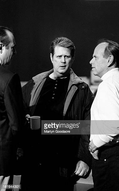 Francis Rossi of Status Quo with Brian Wilson and Al Jardine of the Beach Boys at Brixton Academy London 1996 The two bands were promoting the...