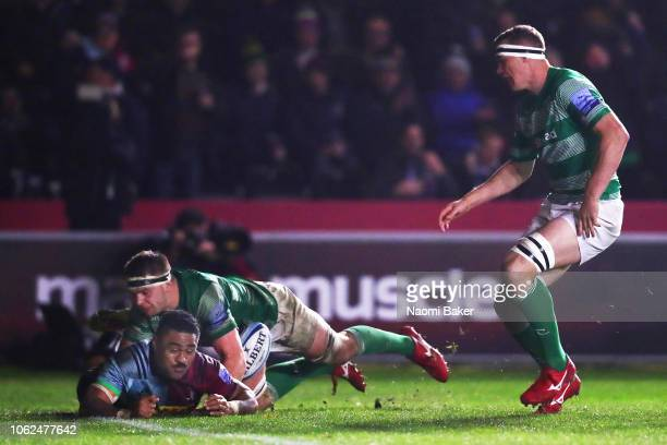 Francis Saili of Harlequins scores a try during the Gallagher Premiership Rugby match between Harlequins and Newcastle Falcons at Twickenham Stoop on...