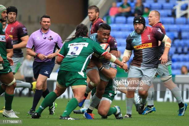 Francis Saili of Harlequins takes on the London Irish defence during the Premiership Rugby Cup Second Round match between London Irish and Harlequins...