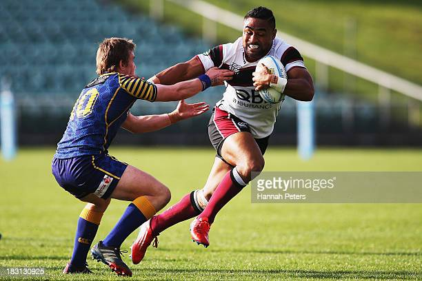 Francis Saili of North Harbour makes a break during the round eight ITM Cup match between North Harbour and Otago at North Harbour Stadium on October...