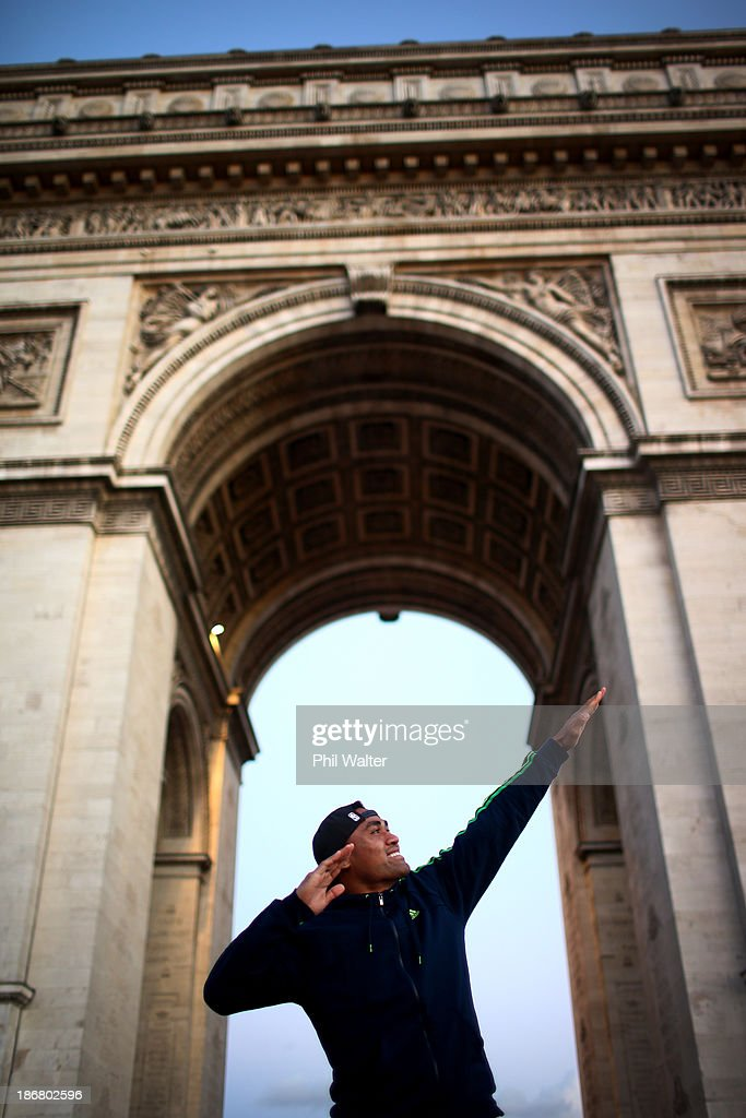 Francis Saili of the New Zealand All Blacks poses for a portrait at the Arc de Triomphe on November 4, 2013 in Paris, France.