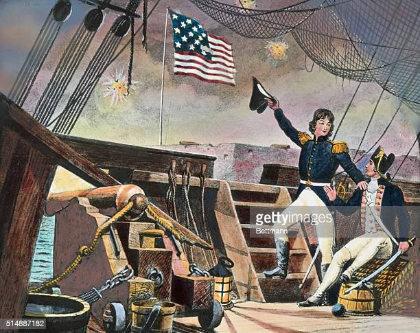 Francis Scott Key observes the bombardment and the US flag over Fort McHenry