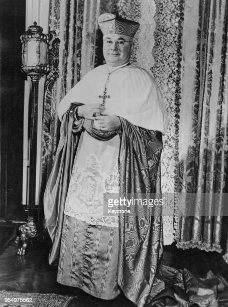 Francis Spellman the Archbishop of New York becomes the fourth New Yorker to be named a Cardinal 12th February 1946 He is pictured in the robes of...