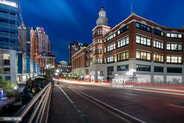 francis street and providence place at night, providence,  rhode island - rhode island stock pictures, royalty-free photos & images