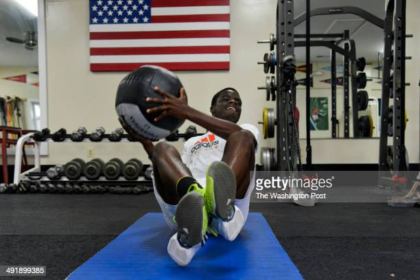 Francis Tiafoe works out with a heavy ball at the Junior Tennis Champions Center on Friday, May 9 in College Park, MD. The center's assistant fitness...