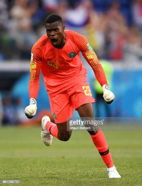 Francis Uzoho of Nigeria celebrates after his team's second goal during the 2018 FIFA World Cup Russia group D match between Nigeria and Iceland at...