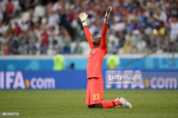 Francis Uzoho of Nigeria celebrates victory following the 2018 FIFA World Cup Russia group D match between Nigeria and Iceland at Volgograd Arena on...
