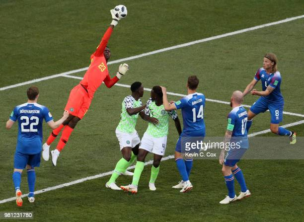 Francis Uzoho of Nigeria makes a save during the 2018 FIFA World Cup Russia group D match between Nigeria and Iceland at Volgograd Arena on June 22...
