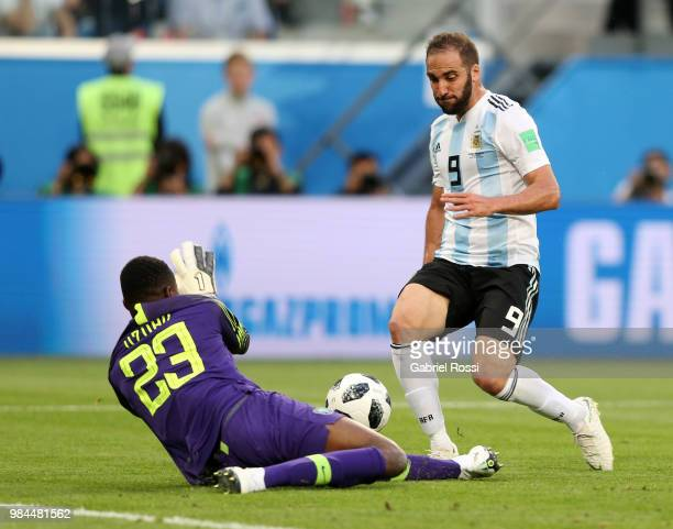 Francis Uzoho of Nigeria saves on Gonzalo Higuain of Argentina during the 2018 FIFA World Cup Russia group D match between Nigeria and Argentina at...