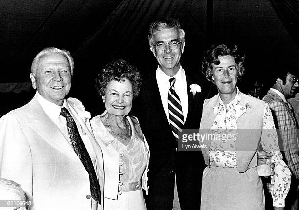 AUG 28 1981 SEP 2 1981 Francis Van Derbur at left enjoys a moment with wife Gwendolyn to his left Theyé¦re with Sandy and Priscilla McDonnell who...