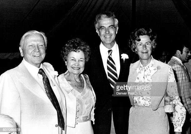 Francis Van Derbur at left enjoys a moment with wife Gwendolyn to his left They're with Sandy and Priscilla McDonnell who arrived from St Louis for...