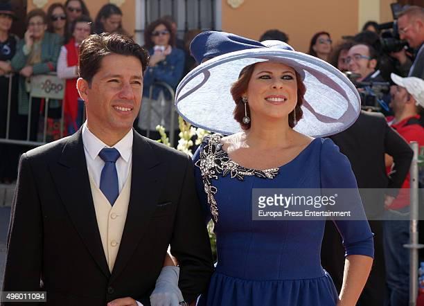 Francis Vinolo and Pastora Soler attend the wedding of Cayetano Rivera and Eva Gonzalez at Mairena del Alcor on November 6 2015 in Seville Spain
