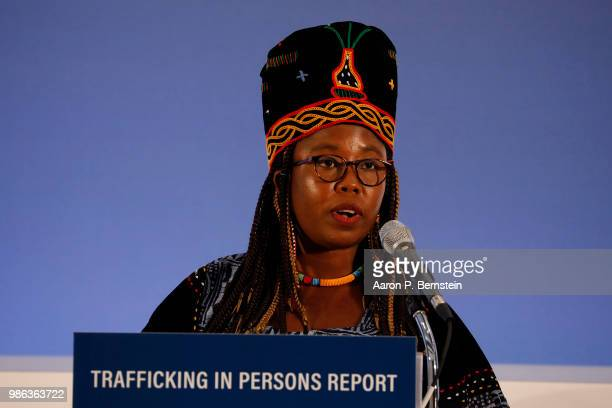 Francisa Awah Mbuli of Cameroon speaks about her advocacy work at an event marking the release of the Trafficking in Persons report at the State...