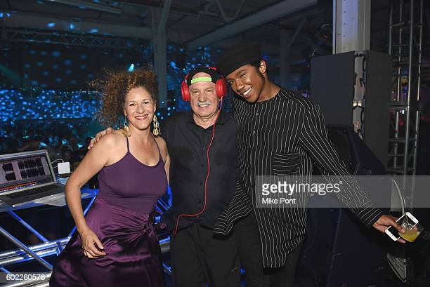 Francisca Gutierrez Giorgio Moroder and Prince Charlez pose on stage during I Feel Love in celebration with Absolut on September 10 2016 in New York...